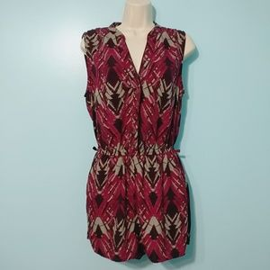 FOREVER 21 Tribal Maroon Romper with POCKETS